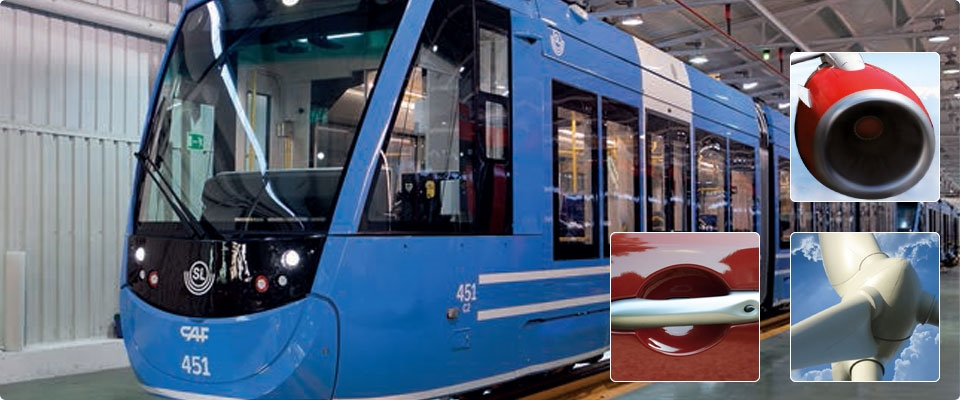 INDUSTRIAL PAINTS<br>Interiors and exteriors of  trains<br>Automotive interiors and exteriors<br>Technical metal parts